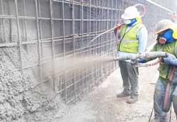 Shotcrete concrete application